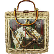 Charming Wicker Handbag with Fabric Horse Portrait.  1950's.