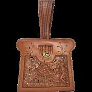Rare 1950's Tooled Leather Mexican Narrative Handbag. 3-D Design.