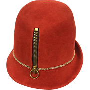 Yves Saint Laurent Museum Quality Zippered Felt Hat. Mod. 1960's.