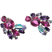 Schiaparelli Fuchsia Pink and Purple Earrings. 1960's.
