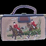 Rare 1950's Needlepoint Fox Hunting Handbag.