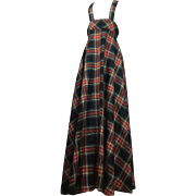 British Boutique 1960's Tartan Pinafore Maxi by Quad.