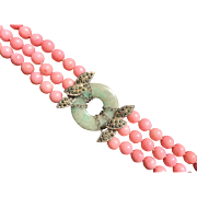 Coral, Jade, and Marcasite Sterling Silver Bracelet. Art Deco Style.