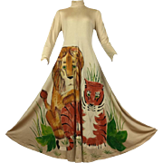 Unique 1970's Hand Painted Big Cats Maxi by Mimosa Tree.