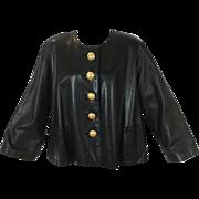 Yves Saint Laurent Black Leather Swing Jacket. 1980's.