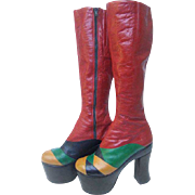 Incredible 1970's Women's Glam Rock Leather Platform Boots. So Ziggy Stardust.