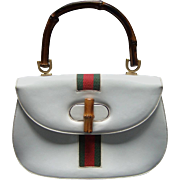 Saks Fifth Avenue White patent leather Bamboo Handle Purse. 1970's.