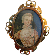 Large Late Georgian Gilt Metal Brooch With Printed Portrait