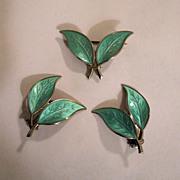 SALE Vintage David Andersen Sterling Aqua Green Enamel Double Leaf Pin and Earrings
