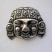 SALE Vintage Mexican Inca Head/Face Sterling Silver 1940s Pin