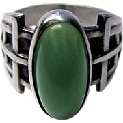 Vintage Art Deco Sterling Silver Jade Glass Ring