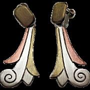 SALE Mexican Metales Casados Vintage Mixed Metals Taxco Drop Earrings 1940s