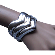 Mexican Los Ballesteros Bold Chevron Sterling Silver Cuff Bracelet