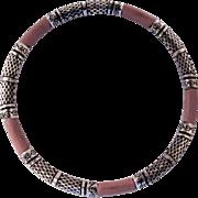 SALE Vintage Sterling Silver and Pink Leather Bangle Bracelet