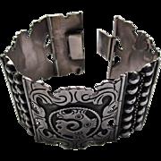 Vintage Mexican Dragon Serpent Sterling Silver Panel Bracelet