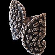 SALE 1940s Mexican Sterling Silver Cactus Clamper Bracelet