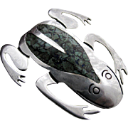 Vintage Mexican Sterling Silver Inlaid Frog Pin by JH