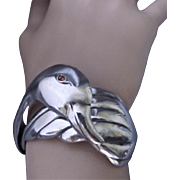 SOLD Vintage Swan/Duck Mexican Sterling Silver Hinged Bracelet by CAR