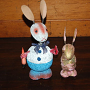 SOLD German Paper Mache Easter Bunny Candy Containers