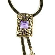 Selro Lavender Cabochon Bolo Slide Necklace
