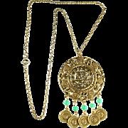 Goldette Asian Theme Pendant Necklace