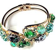 Green Bead Vintage Hinged Bracelet