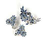 Coro Blue Rhinestone Flower Brooch and Earrings