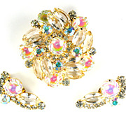 DeLizza and Elster Juliana Iridescent Crystal Rhinestone Brooch and Earrings