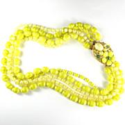 Selini Yellow Plastic Bead Necklace