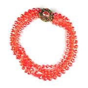 Selini Orange Plastic Bead Necklace