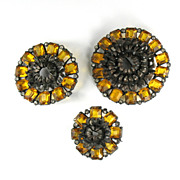 Pomerantz Set of Three Flower Brooches