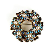 DeLizza and Elster Juliana Topaz AB Rhinestone Faux Pearl Brooch