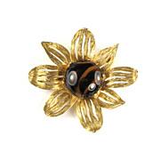 Florenza Faux Tortoise Shell Cabochon Flower Brooch