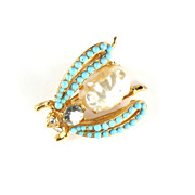 Florenza Faux Pearl Turquoise Rhinestone Insect Trembler Pin