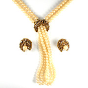 Florenza (Unsigned) Cream Bead Rhinestone Necklace and Earrings