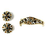 Vintage Florenza Black Topaz Gray Rhinestone Bracelet and Earrings Set