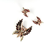 Coro Red Sterling Vermeil Butterfly Brooch and Earrings Vintage Set