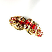 Red Rhinestone Metal Leaf Design Hinged Bracelet