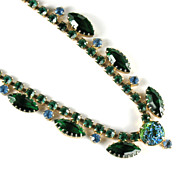 Green Art Glass Rhinestone Necklace