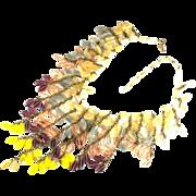 Miriam Haskell Glass Bead Bib Style Necklace