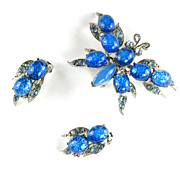 Florenza Blue Confetti Butterfly Brooch and Earrings