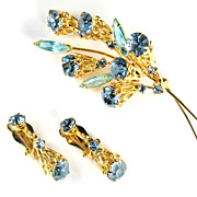 Blue and Aqua Rhinestone Flower Brooch and Earrings