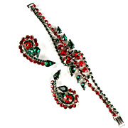 Juliana Green Red Rhinestones Bracelet and Earrings Set by D and E