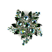 DeLizza and Elster Juliana Green AB Rhinestone Brooch