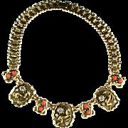 Coro Antelope Motift Bookchain Necklace