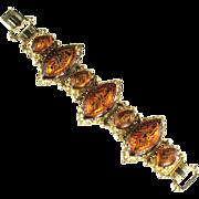 Iridescent Orange Glass Cabochon Bracelet