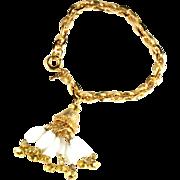 Trifari White Bead Tassel Bracelet