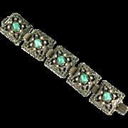 Green Cabochon Filigree Bracelet