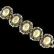 Pearlescent Cabochon Blue Rhinestone Bracelet