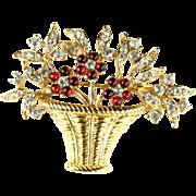 Trifari Red Cabochon Crystal Rhinestone Flower Basket Brooch
